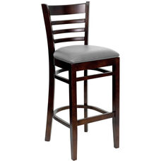 Walnut Finished Ladder Back Wooden Restaurant Barstool with Custom Upholstered Seat