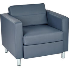 Ave Six Pacific Armchair with Box Spring Seat - Dillon Blue Antimicrobial Vinyl