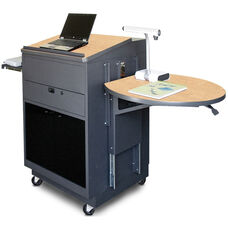 Vizion Sit Stand Mobile Teaching Center with Acrylic Doors and Lectern - Dark Neutral Finish and Kingsington Maple Laminate