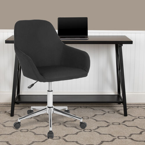 Cortana Home and Office Mid-Back Chair in Black Fabric