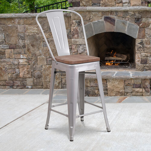 "Our 24"" High Silver Metal Counter Height Stool with Back and Wood Seat is on sale now."