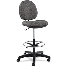 Alera® Interval Series Swivel Task Stool - Tone-On-Tone Fabric - Graphite Gray