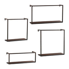 Zyther Modern Contemporary 4 Piece Stacking Open Concept Display Wall Shelves - Black