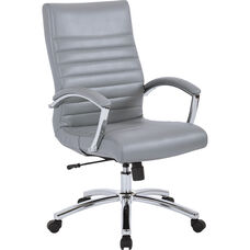Work Smart Executive Faux Leather Mid-Back Chair with Padded Arms - Grey