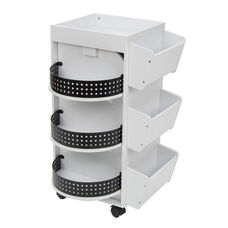 Swivel Storage Organizer with Rotating Shelves and Locking Casters - White