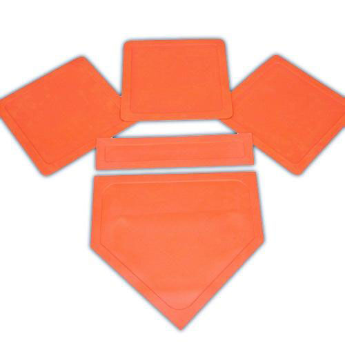 Flexible Rubber Throw Down Bases - Set of 5 in Orange