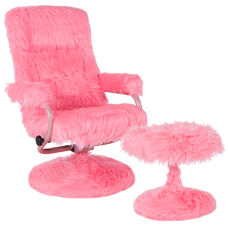 East Side Contemporary Multi-Position Recliner and Ottoman in Pink Fur