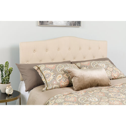 Our Cambridge Tufted Upholstered King Size Headboard in Beige Fabric is on sale now.