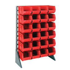 Single Sided Rail System with 24 Bins - Red