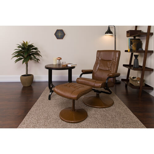 Our Contemporary Multi-Position Recliner and Ottoman with Wrapped Base in Palimino Leather is on sale now.