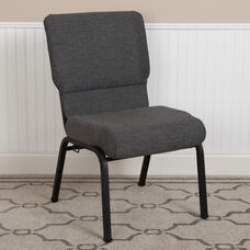 Advantage 20.5 in. Black Marble Molded Foam Church Chair with Book Rack