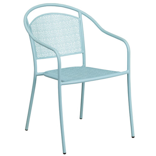 Our Commercial Grade Sky Blue Indoor-Outdoor Steel Patio Arm Chair with Round Back is on sale now.