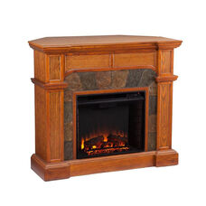 Cartwright Earth Tone Tile and Wood Grain Corner Convertible TV Console with Electric Fireplace - Mission Oak