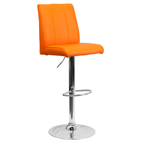 Our Contemporary Orange Vinyl Adjustable Height Barstool with Vertical Stitch Panel Back and Chrome Base is on sale now.