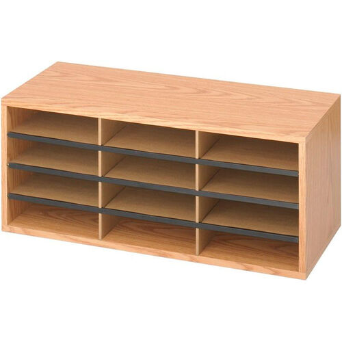 Our Adjustable Wooden Literature Organizer with Twelve Compartments - Medium Oak is on sale now.