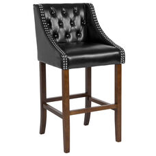 "Carmel Series 30"" High Transitional Tufted Walnut Barstool with Accent Nail Trim in Black LeatherSoft"