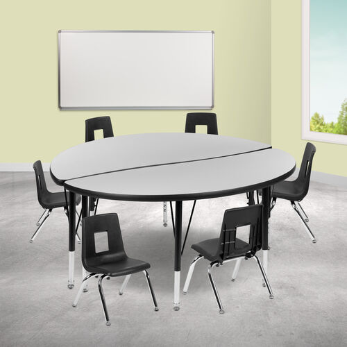 """47.5"""" Circle Wave Collaborative Laminate Activity Table Set with 12"""" Student Stack Chairs, Grey/Black"""