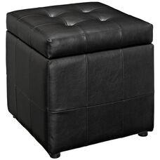 Volt Storage Ottoman in Black