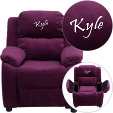 Personalized Deluxe Padded Purple Microfiber Kids Recliner with Storage Arms