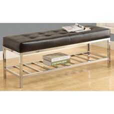 Button Tufted Faux Leather and Chrome Backless Bench - Black
