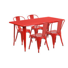 """Commercial Grade 31.5"""" x 63"""" Rectangular Red Metal Indoor-Outdoor Table Set with 4 Stack Chairs"""