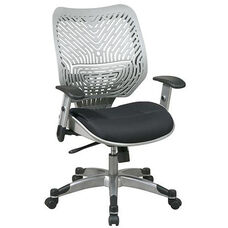 Space REVV Self Adjusting SpaceFlex Back and Mesh Seat Managers Chair with Adjustable Arms - Fog Back and Raven Seat