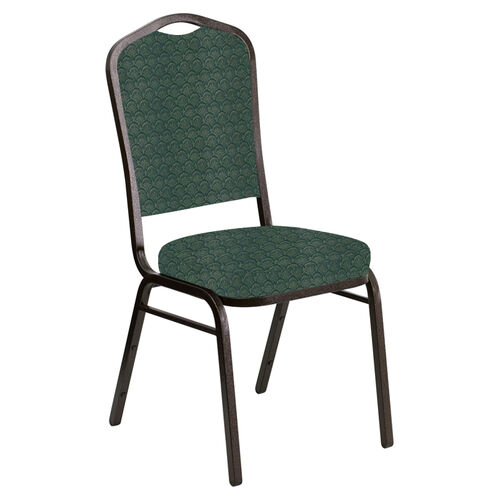 Embroidered Crown Back Banquet Chair in Arches Forest Fabric - Gold Vein Frame