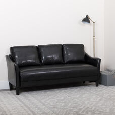 Asti Upholstered Sofa in Black LeatherSoft