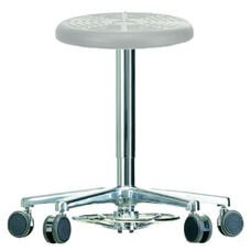 Tasq Gray Work Stool with Cushioned Round Seat and Self-Braking Casters and a Foot Pump Release - Low Profile