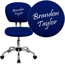 Embroidered Mid-Back Blue Mesh Padded Swivel Task Office Chair with Chrome Base