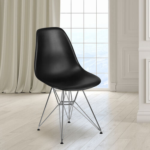 Our Elon Series Black Plastic Chair with Chrome Base is on sale now.