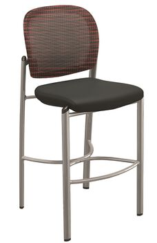 Valore Mesh and Fabric Stool - Set of 2 - Burgundy Back and Black Seat