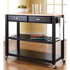 Natural Wood Top Kitchen Island Cart - Maple and Black Finish