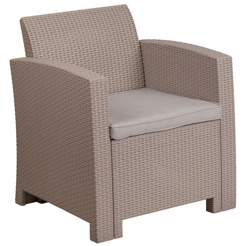 Our Faux Rattan Chair with All-Weather Cushion is on sale now.