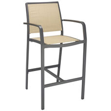 South Beach Collection Aluminum Outdoor Barstool with Arms and Textile Back - Light Basket