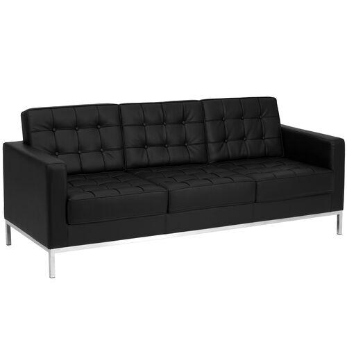 Black Leather Sofa ZB-LACEY-831-2-SOFA-BK-GG | Bizchair.com