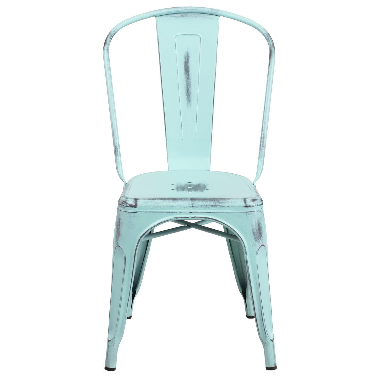 Distressed Green Blue Metal Indoor Outdoor Stackable Chair