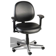 Triton Large Back Desk Height Cleanroom ESD Chair with 350 lb. Capacity - 6 Way Control - Black Vinyl