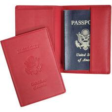 RFID Blocking Debossed Passport Jacket - Top Grain Nappa Leather - Red