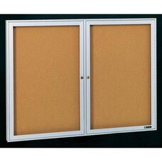 Deluxe 2 Door Bulletin Board Cabinet with Tan Nucork Back Panel - 48
