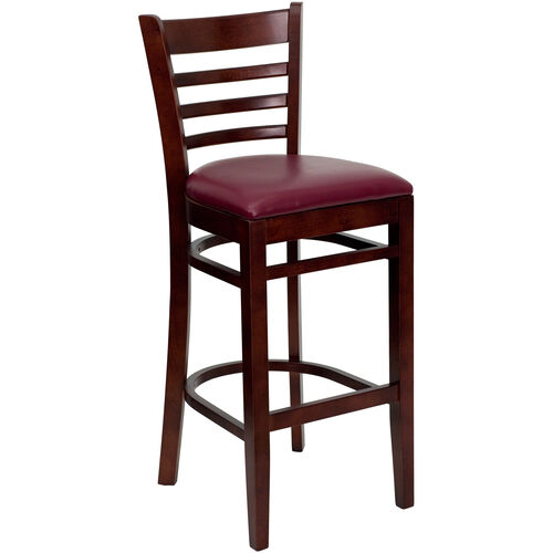 Our Mahogany Finished Ladder Back Wooden Restaurant Barstool with Burgundy Vinyl Seat is on sale now.