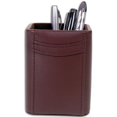 Classic Leather Pencil Cup - Chocolate Brown