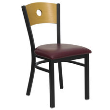 Black Circle Back Metal Restaurant Chair with Natural Wood Back & Burgundy Vinyl Seat