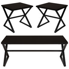 Larchmont Collection 3 Piece Coffee and End Table Set in Espresso Wood Finish and Black Metal Frames