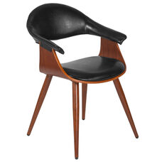 Contemporary Walnut Bentwood Side Reception Chair with Black LeatherSoft Back and Seat