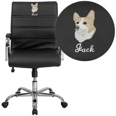 Embroidered Mid-Back Black Leather Executive Swivel Chair with Chrome Base and Arms