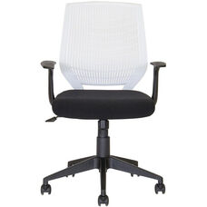 Flexo Task Chair with Arms and Poly Back - White Back and Black Seat