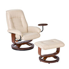 Bonded Leather Swivel Recliner with Attached Side Table and Ottoman - Taupe