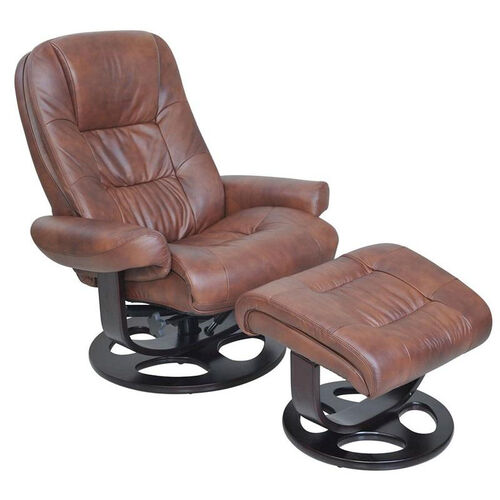 Our Jacque Leather Match Pedestal Recliner with Ottoman - Hilton Whiskey is on sale now.