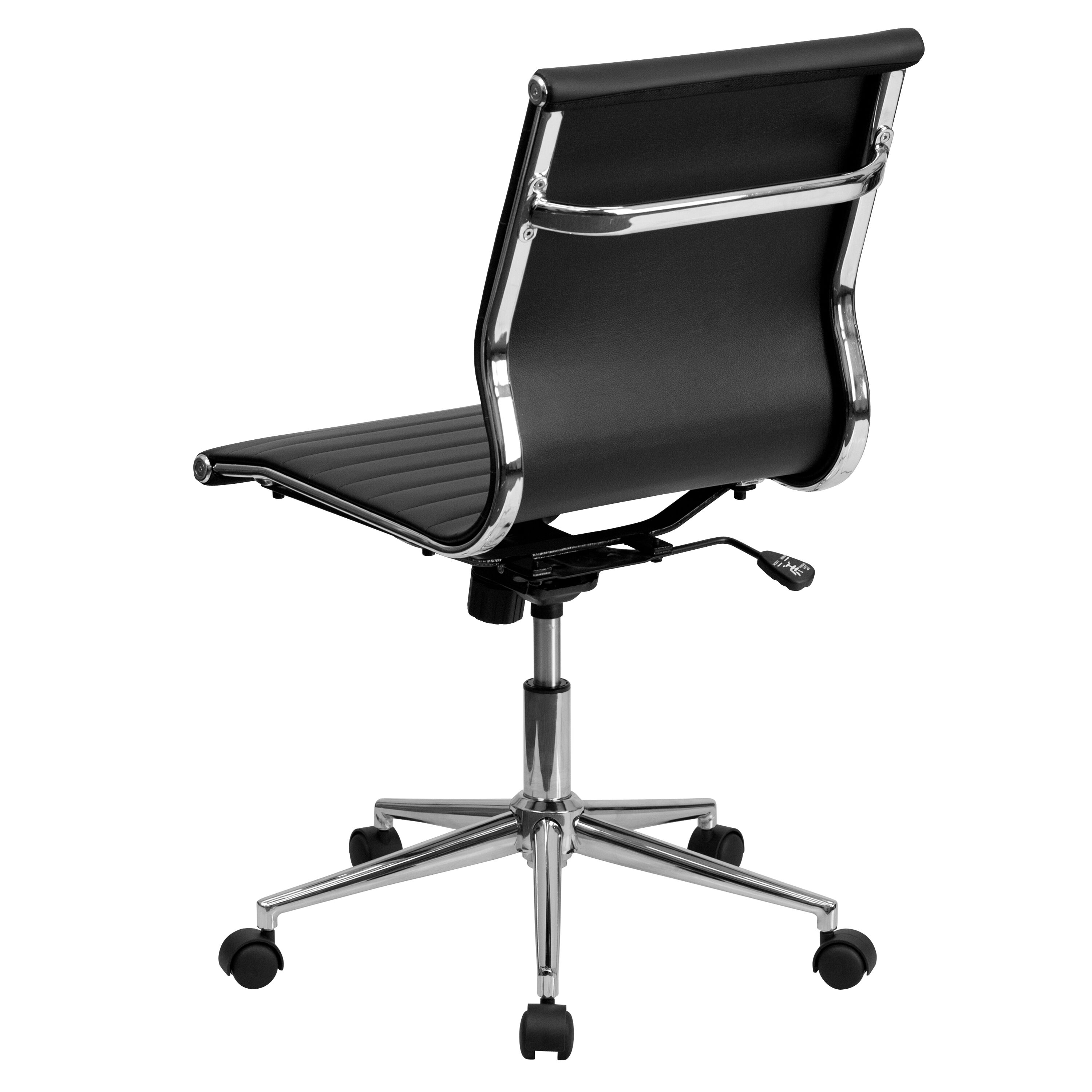 Our Mid Back Armless Black Ribbed Leather Swivel Conference Chair Is On  Sale Now.